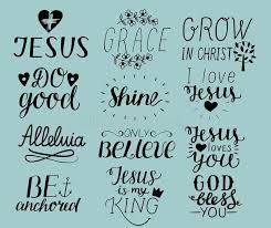 set of hand lettering christian quotes i love jesus grace god