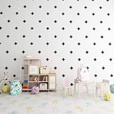 Amazon Com Swiss Cross Pattern Wall Decals Plus Sign Design Vinyl Bedroom Decor Sticker Diy Home Decor Set Of 66 Black 3x3 Inches Home Kitchen