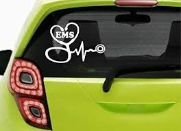 Amazon Com Stickerloaf Brand Ems Stethoscope Ekg Paramedic Car Truck Laptop Decal Sticker Decals Sticker Emt Ems Heart Qrs Complex Firemedic Firefighter Flight Medic Emt Ems Rn Lpn Cna Nurse Rescue Fire Fd