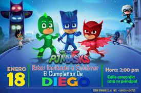 Kit Imprimible Heroes En Pijamas Pj Masks Invitacion Regalo