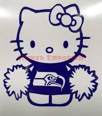 Hello Kitty Football Cheerleader Seattle Seahawks Car Window Vinyl Decal Sticker Vinyl Decal Stickers Hello Kitty Vinyl Decals