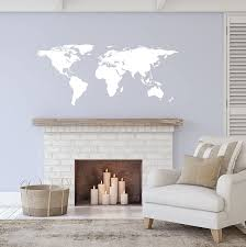 Amazon Com White World Map Wall Decal Sticker Stickerbrand Home Decor Vinyl Wall Art Large 30in X 75in Die Cut Size Removable Arts Crafts Sewing