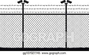 Vector Clipart Fence Wire Mesh Barbed Wire Vector Silhouette Street Camera On The Pillar No Passage No Thoroughfare Vector Illustration Gg107027745 Gograph