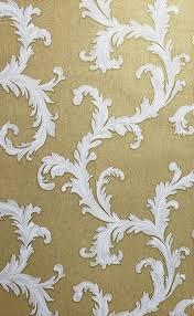 gold white damask textured wallpaper 3d