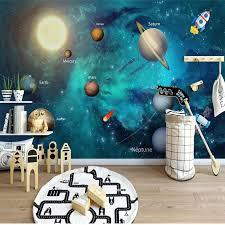 Custom Wallpaper Mural For Kids Room Hand Painted Universe Bvm Home