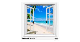 Tropical Beach View Mural Fake Window Wall Sticker Zazzle Com