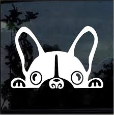 French Bulldog Car Peeking Decal Dog Stickers Custom Sticker Shop