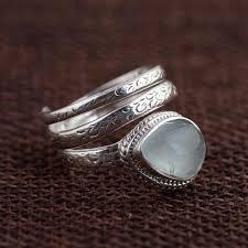 2020 natural aquamarine ring 925