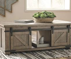 sliding barn door storage coffee table