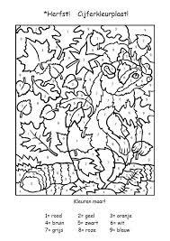Cijferkleurplaat Voor De Snelle Werkers Herfstwerkjes Herfst