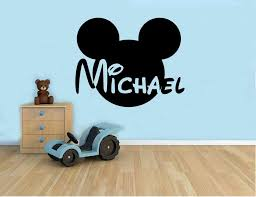 Amazon Com Personalized Name Wall Decal Mickey Mouse Head Vinyl Sticker Custom Name Home Decor Bedroom Nursery Baby Room Wall Art 1 Mkm Home Kitchen