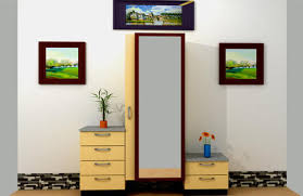 light brown long mirror dressing table