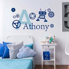 Custom Kids Name Vinyl Wall Sticker Robot And Gears Design Wall Decal Customzied Monogram Removable Wall Poster Art Az191 Wall Stickers Aliexpress