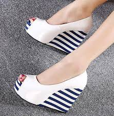 sweet navy stripes white wedge shoes