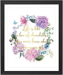 Amazon Com Eleville 8x10 Life Is Like A Box Of Chocolates Real Gold Foil And Floral Watercolor Art Print Unframed Forrest Gump Quote Wall Art Kids Room Decor Birthday Wedding Gift Wg103 Posters