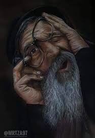 شايب رسم بالالوان الخشبية للفنان التشكيلي Art Man مرتضى الحسيني