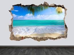 Tropical Beach Wall Decal Beach Wall Art Beach Wall Decor Sea Etsy In 2020 Beach Wall Decals Beach Wall Art Beach Wall Decor