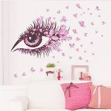 Flower Fairy Eyelash Butterfly Wall Stickers For Girls Room Decor Diy Home Decals Wall Art Removable Kids Gift Butterfly Wall Stickers Wall Stickerstickers For Aliexpress