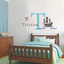 Custom Name Initial Nautical Sailboat Ships Kids Nursery Room Wall Decal Sticker Home Art Decor Mural Boys Design Decoration Murale Wall Decals Stickersart Decor Aliexpress