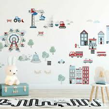 Life In The City Removable Wall Sticker Kids Boys Room Vinyl Decal Nursery Decor Ebay