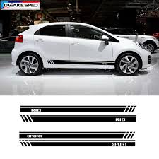 For Kia Rio Sport Stripes Decal Car Door Side Skirt Stickers Auto Body Accessories Waterproof Decals Fit On 3 5 Doors Car Stickers Aliexpress