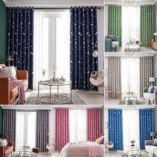 Galaxy Star Thermal Blackout Curtains For Kids Room Boys Girls Bedroom Eyelet Ring Top Panels Stars Moon Walmart Com Walmart Com