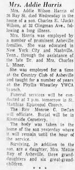 Obituary for Addie Wilson llurris - Newspapers.com
