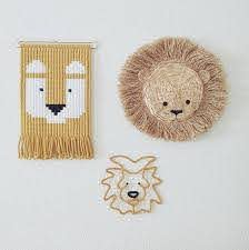 Jungle Themed Macrame Wall Tapestry For Kids Nursery Kids Room Wall Decor With Animals Lion Tiger Monkey Bear Tapestry Diy Weaving Lion Nursery