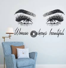 Woman Make Up Wall Sticker Eye Eyelashes Wall Decal Lashes Extensions Beauty Shop Decor Eyebrows Brows Mural Beauty Gift Ay1083 Bedwinthine