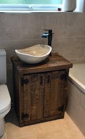 new solid chunky wood rustic bathroom