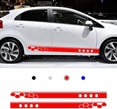 Amazon Com Autotoper Car Side Door Skirt Strip Sticker Decals For Kia Rio Red Vinyl Car Decal Accessories Styling 1 Pair L R Automotive