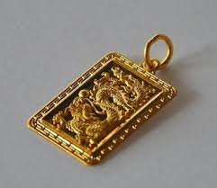 24k gold lucky dragon pendant 6g 9999