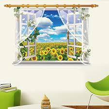 Kaimao Sunflower 3d Window Decal Wall Sticker Art Murals Removable Wallpapers For Home Decoration See This Wall Stickers 3d Home Wallpaper Sticker Wall Art