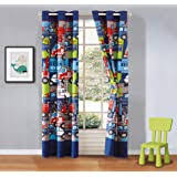 Amazon Com Aifish Cartoon Cars And Bus Printed Kids Room Semi Blackout Curtains Nursery Room Darkening Thermal Insulated Window Panel Drapes For Boys Bedroom W39 X L84 Inch 1 Panel Greyish White Furniture Decor