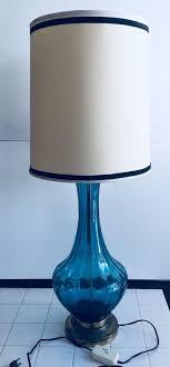 vintage mid century blue glass lamp