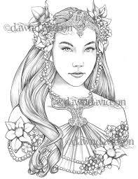 Koningin Van De Elfen Kleurplaat Pagina Afdrukbare Kleuren Etsy