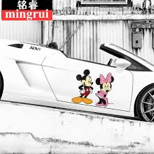 C Luo Car Sticker Creative Obstruction Scratches Car Stickers Dog Shark Mickey Cartoon Door Cute Couple