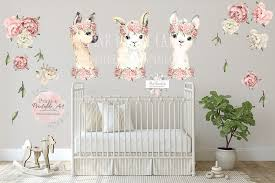 3 Llama Peony Watercolor Wall Decal Sticker Wallpaper Decals Pink Rose Pink Forest Cafe