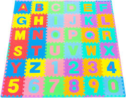 Amazon Com Prosource Kids Puzzle Alphabet Numbers 36 Tiles And Edges Play Mat 12 By 12 Sports Outdoors