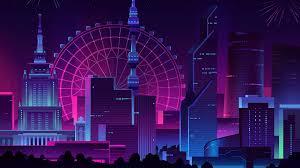 neon retro city ps4 wallpapers