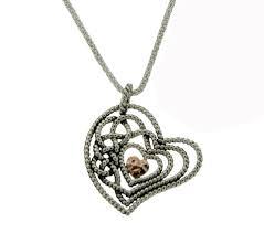 sterling rose gold heart pendant