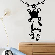 Funny Monkey Family Zoo Animals Vinyl Wall Decal Kids Room Decor Nursery Art Mural Removable Wall Stickers Wall Stickers Aliexpress