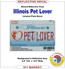 Pet Lover Car Decal Il License Plate Reflective Sticker Illinois Dog Cat U 10 Ebay