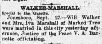 William Walker & Iva Marshall Marriage in Jonsboro, Arkansas 27 Sept 1913 -  Newspapers.com