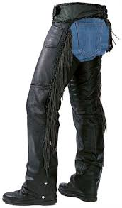 black leather fringe motorcycle chaps