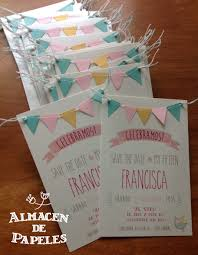 Sweet And Simple Invitation With Mini Bunting Detail Tarjetas