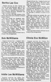 Addie Lee Averett McWilliams Obituary - Newspapers.com