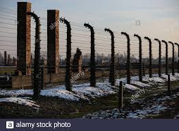 Auschwitz Birkenau Poland Electric Fence With Barbed Wire Destroyed Barracks Gas Chambers And Brick Crematorium Chimneys In Concentration Camp Stock Photo Alamy