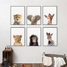 Lion Zebra Elephant Giraffe Baby Animals Art Print Poster Safari Animals Picture Canvas Painting Kids Room Nursery Wall Decor Wish