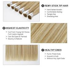 Keratin Bonded I Tip Hair Extension 100% Remy European Highlights ...